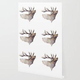Bull Elk portrait watercolor on white background Wallpaper