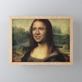 Nicholas Cage Mona Lisa face swap Framed Mini Art Print