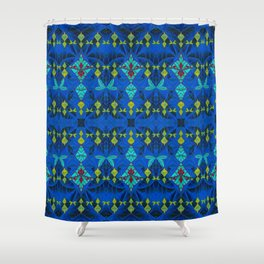 Shipibo Inspired Ayahuasca Visionary Embroidery Boho Print Shower Curtain