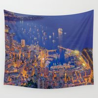 sparkles Wall Tapestries featuring Monaco Sparkles by ExperienceTheFrenchRiviera