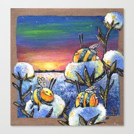 Sunset on the Cotton Field Canvas Print