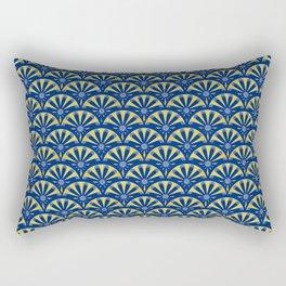 Art Deco Fan in blue and gold Rectangular Pillow
