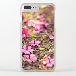 Vivid purple flowers on the ground Clear iPhone Case