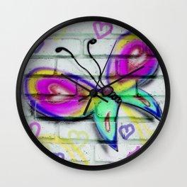 Butterflies and Bricks Wall Clock