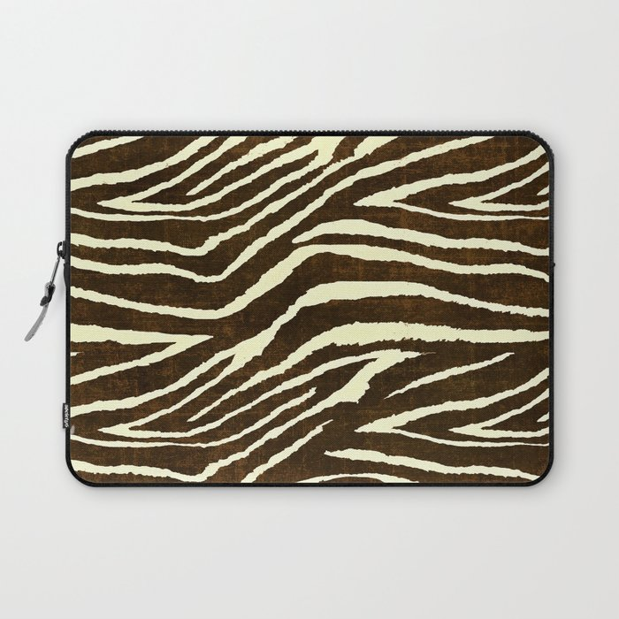 Animal Print Zebra in Winter Brown and Beige Laptop Sleeve