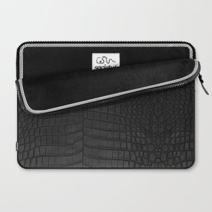 Black Crocodile Leather Print Laptop Sleeve