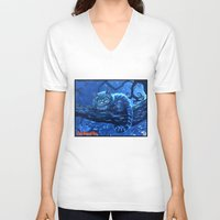 cheshire cat V-neck T-shirts featuring Cheshire Cat by Tom C Carlton
