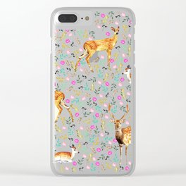 Deers #society6 #illustration #christmas Clear iPhone Case