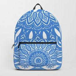 Light Blue Cobalt Mandala Simple Minimal Minimalistic Backpack