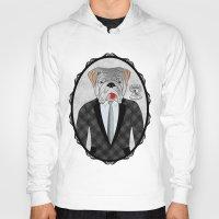 english bulldog Hoodies featuring Mr. Dandy - English Bulldog by Rozenblyum Couture
