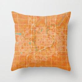Sioux Falls, SD, USA, Gold, Blue, City, Map Throw Pillow