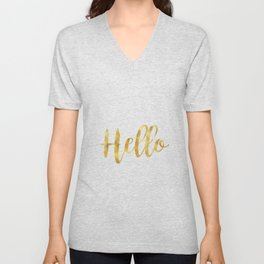 Hello in Golden and White Unisex V-Neck