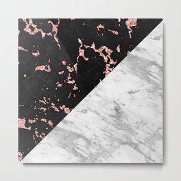 Black and white marble geometric design Metal Print