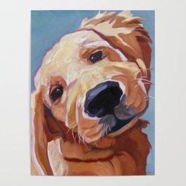 Golden Retriever Puppy Original Oil Painting Poster