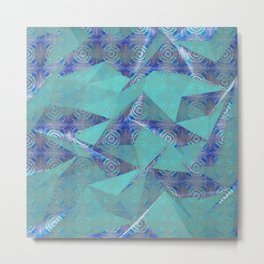 Contemporary Geometric Tribal Origami Metal Print