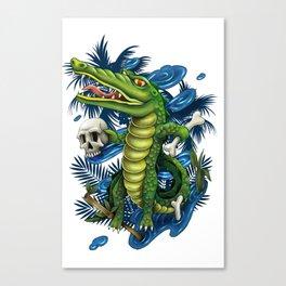 Crocodile and Skeleton Canvas Print