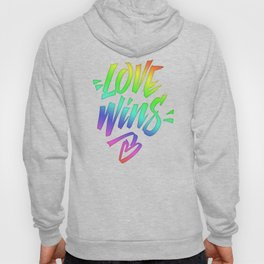 Love Wins Lettering with Rainbow colors Gradient Hoody
