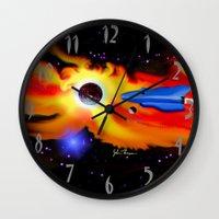 spaceship Wall Clocks featuring Spaceship by JT Digital Art