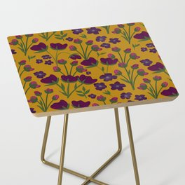 Purple and Gold Floral Seamless Illustration Side Table