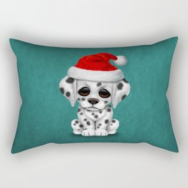 Christmas Dalmatian Puppy Dog Wearing a Santa Hat Rectangular Pillow