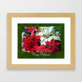 Mixed color Poinsettias 1 Happy Holidays P1F1 Framed Art Print