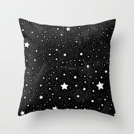 Stars In Space, Black and White Vector Pattern Throw Pillow