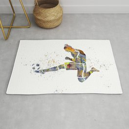 Soccer player in watercolor-19 Rug