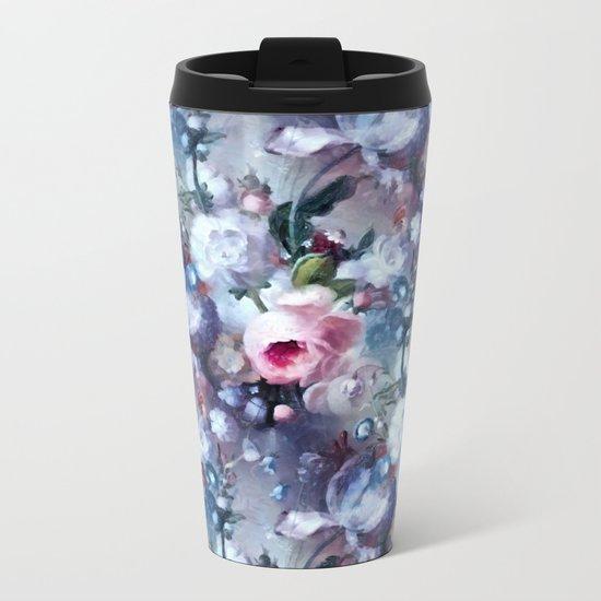 Blue and pink floral pattern Metal Travel Mug