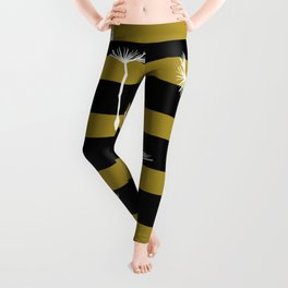 flying dandelion seeds simple seamless pattern on Yellow Olive Green stripes Background Leggings