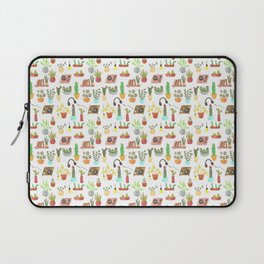 watercolor vinyl records and cacti Laptop Sleeve