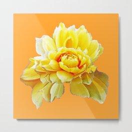 GOLD Color Yellow Rose Flower Art Design Pattern Abstract Art Garden Metal Print