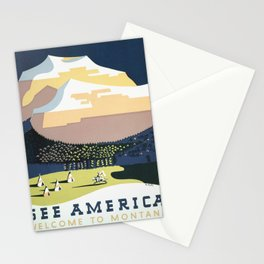 See America Vintage Poster: Welcome to Montana (1937) Stationery Cards