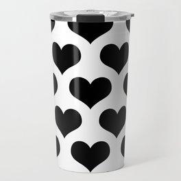 White Black Heart Minimalist Travel Mug