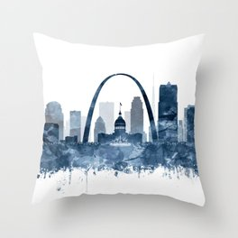 St Louis City Skyline Watercolor Blue by zouzounioart Throw Pillow