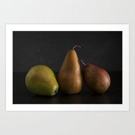 Still LIfe of Fresh Pears on a Dark Surface Art Print