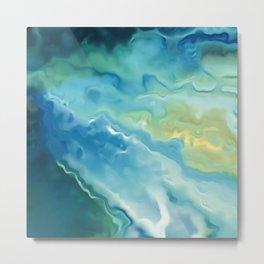Watercolor Marbled Beach Waves Metal Print
