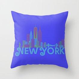 New York Colorful Skyline Throw Pillow
