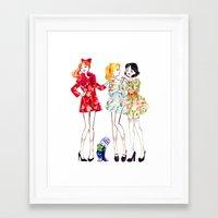 powerpuff girls Framed Art Prints featuring Powerpuff girls getting classy by Maëlle Rajoelisolo