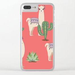 Llama with Cacti Clear iPhone Case