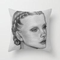 emily rickard Throw Pillows featuring Emily by Kalynn Burke