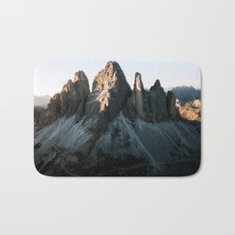 Tre Cime in the Dolomites Mountains at dusk - Landscape Photography Bath Mat