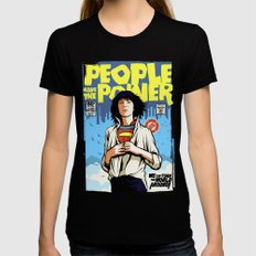 People Have The Power MEDIUM Womens Fitted Tee Black
