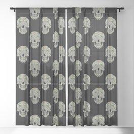 Yorkshire Rose Sugar Skull V2 (Black) Sheer Curtain