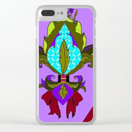 Fleur de lis with Maroon Ribbon and Bow Clear iPhone Case