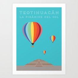 Teotihuacan, La Piramide del Sol, Mexico Travel Poster Art Print