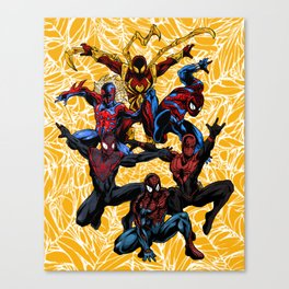 5 Spider-men - Yellow Variant Canvas Print