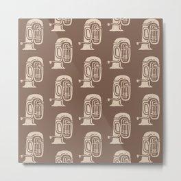 Tuba Pattern Brown and beige 2 Metal Print