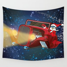 Santa drives a hot rod Wall Tapestry