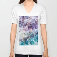 crystals V-neck T-shirts featuring crystals  by lokyic