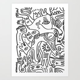 Graff Black and White Cool Non Sense Monsters  Art Print